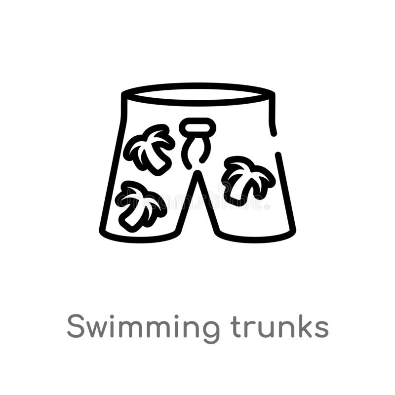 Outline swimming trunks vector icon. isolated black simple line element illustration from summer concept. editable vector stroke. Swimming trunks icon on white royalty free illustration