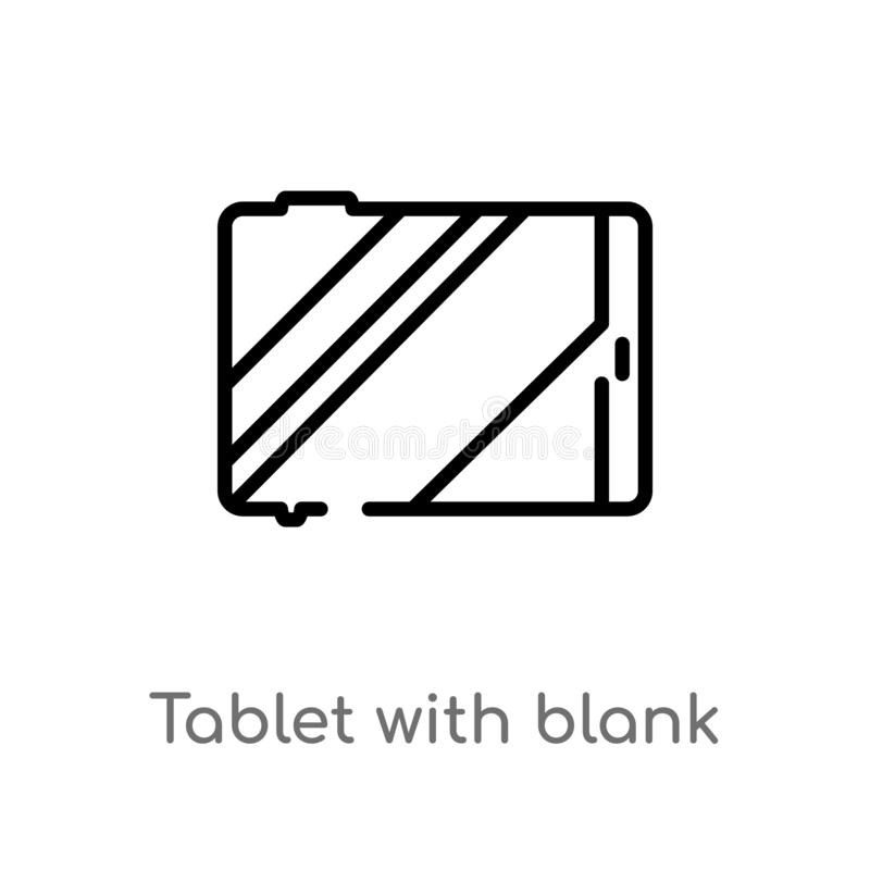 outline tablet with blank screen vector icon. isolated black simple line element illustration from technology concept. editable vector illustration