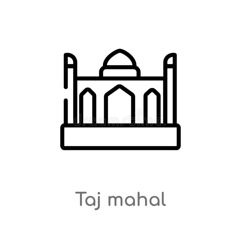 outline taj mahal vector icon. isolated black simple line element illustration from india and holi concept. editable vector stroke stock illustration