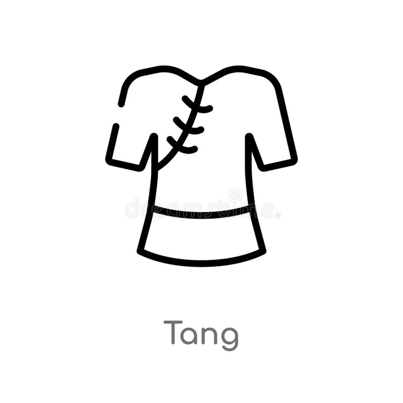 Outline tang vector icon. isolated black simple line element illustration from asian concept. editable vector stroke tang icon on. White background stock illustration