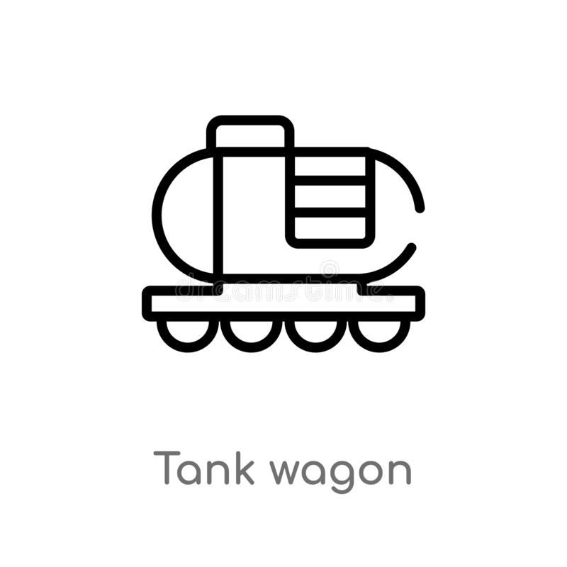 outline tank wagon vector icon. isolated black simple line element illustration from industry concept. editable vector stroke tank royalty free illustration