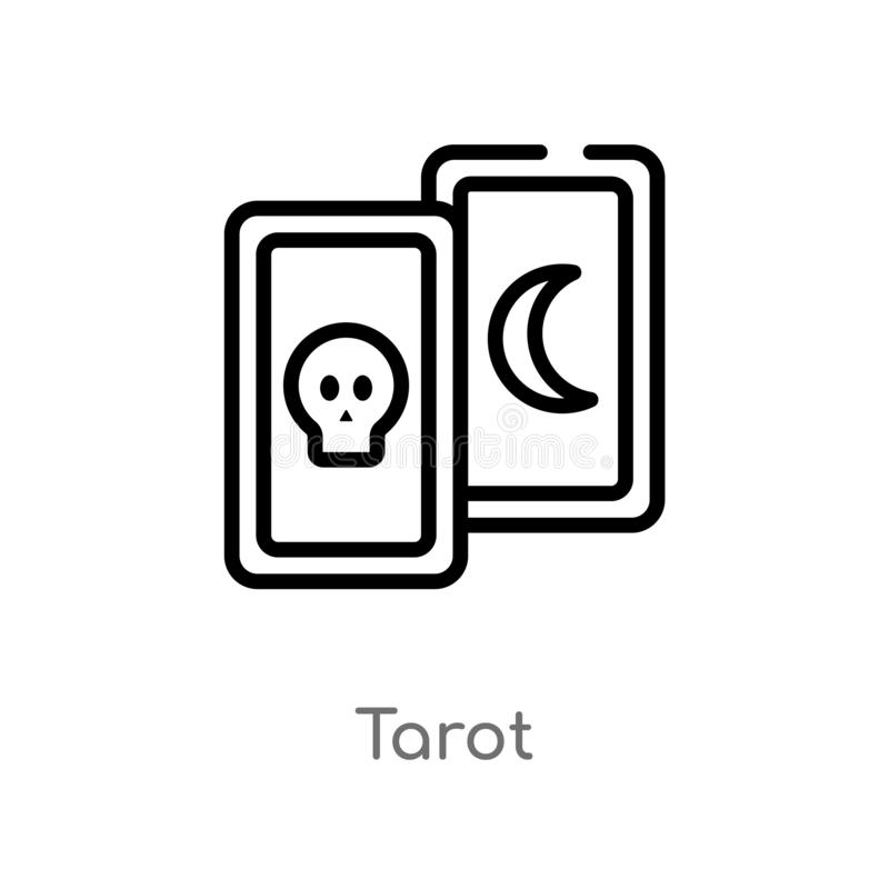 outline tarot vector icon. isolated black simple line element illustration from magic concept. editable vector stroke tarot icon royalty free illustration