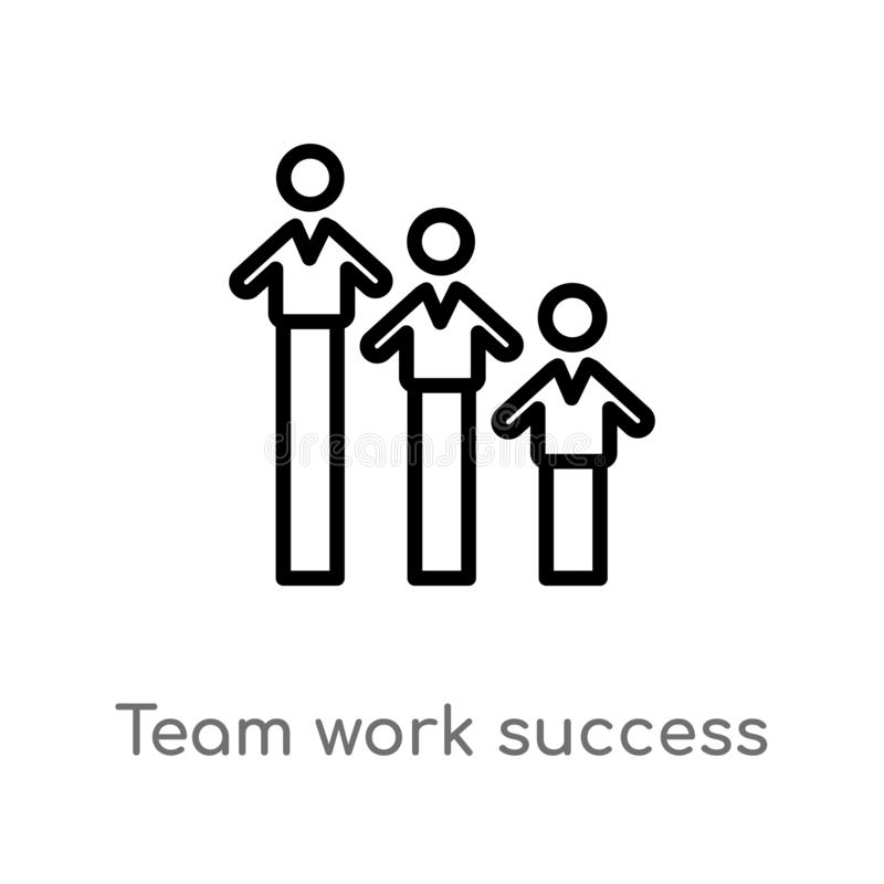 outline team work success vector icon. isolated black simple line element illustration from people concept. editable vector stroke vector illustration