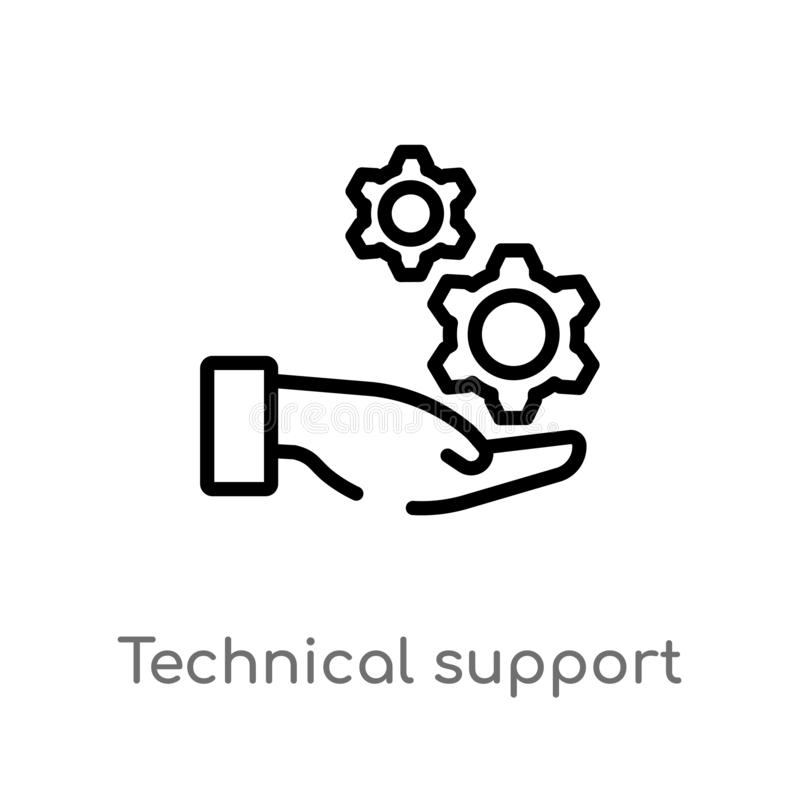 outline technical support vector icon. isolated black simple line element illustration from big data concept. editable vector stock illustration
