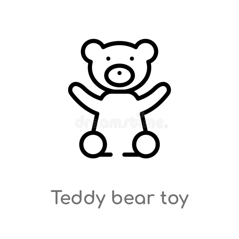 Outline teddy bear toy vector icon. isolated black simple line element illustration from toys concept. editable vector stroke. Teddy bear toy icon on white stock illustration