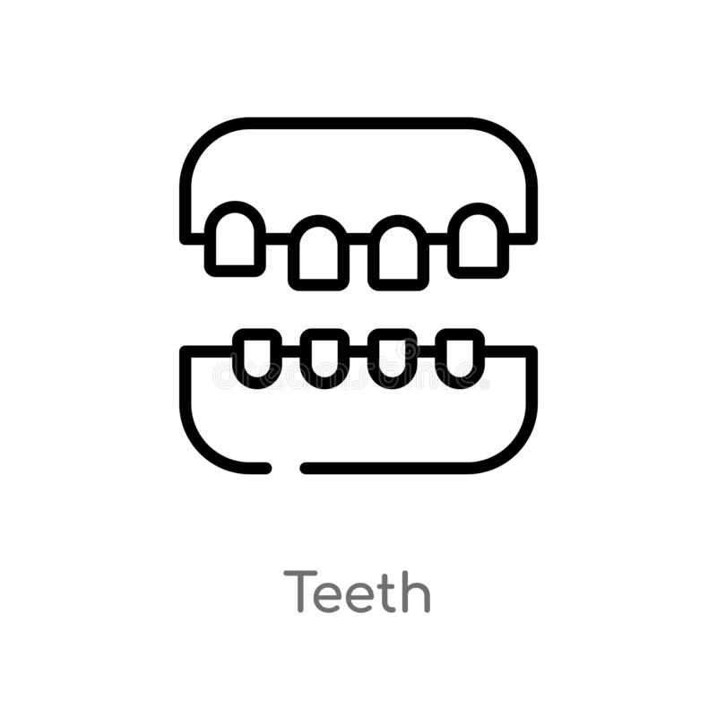 Outline teeth vector icon. isolated black simple line element illustration from medical concept. editable vector stroke teeth icon. On white background royalty free illustration