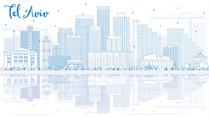 Outline Tel Aviv Skyline with Blue Buildings and Reflections. Vector Illustration. Business Travel and Tourism Concept with Modern Architecture. Image for vector illustration
