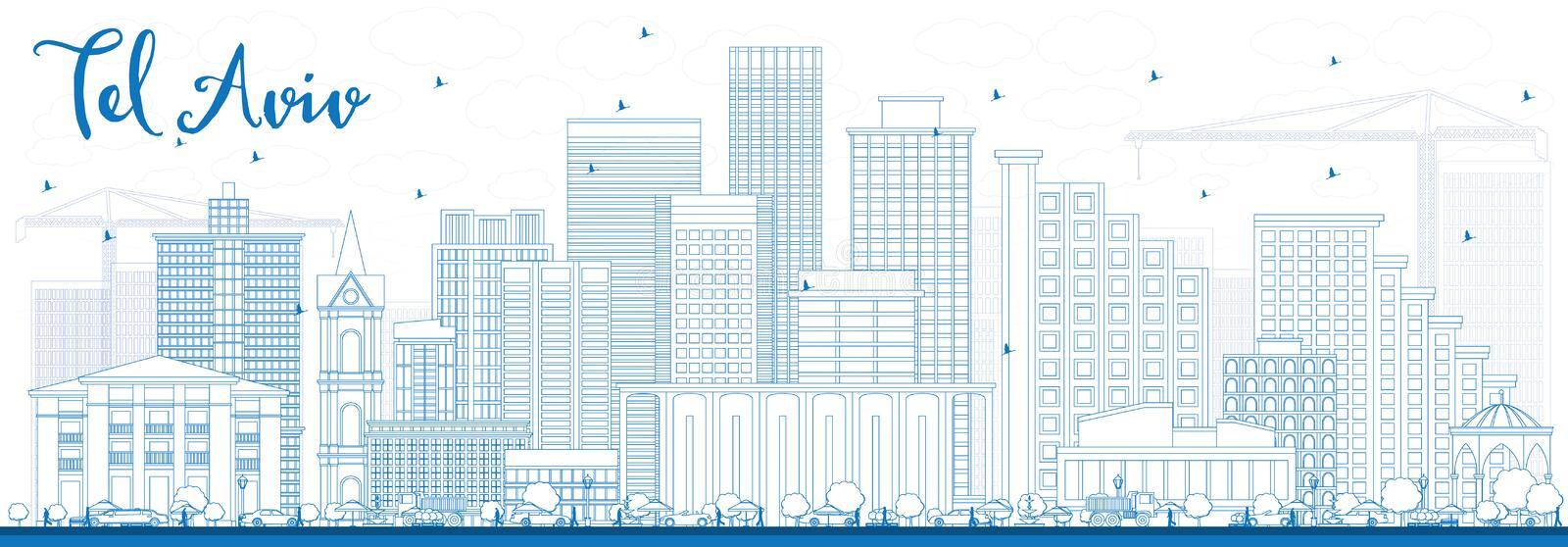 Outline Tel Aviv Skyline with Blue Buildings. Vector Illustration. Business Travel and Tourism Concept with Modern Architecture. Image for Presentation Banner vector illustration