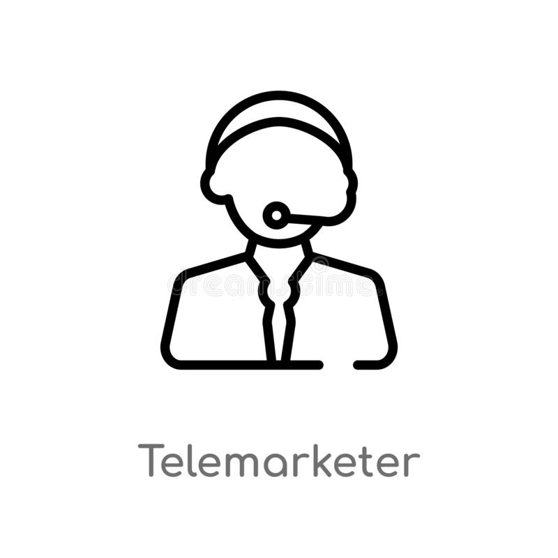 outline telemarketer vector icon. isolated black simple line element illustration from customer service concept. editable vector royalty free illustration