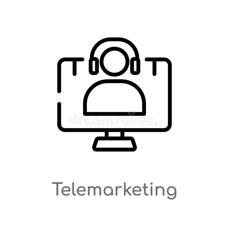 outline telemarketing vector icon. isolated black simple line element illustration from technology concept. editable vector stroke royalty free illustration