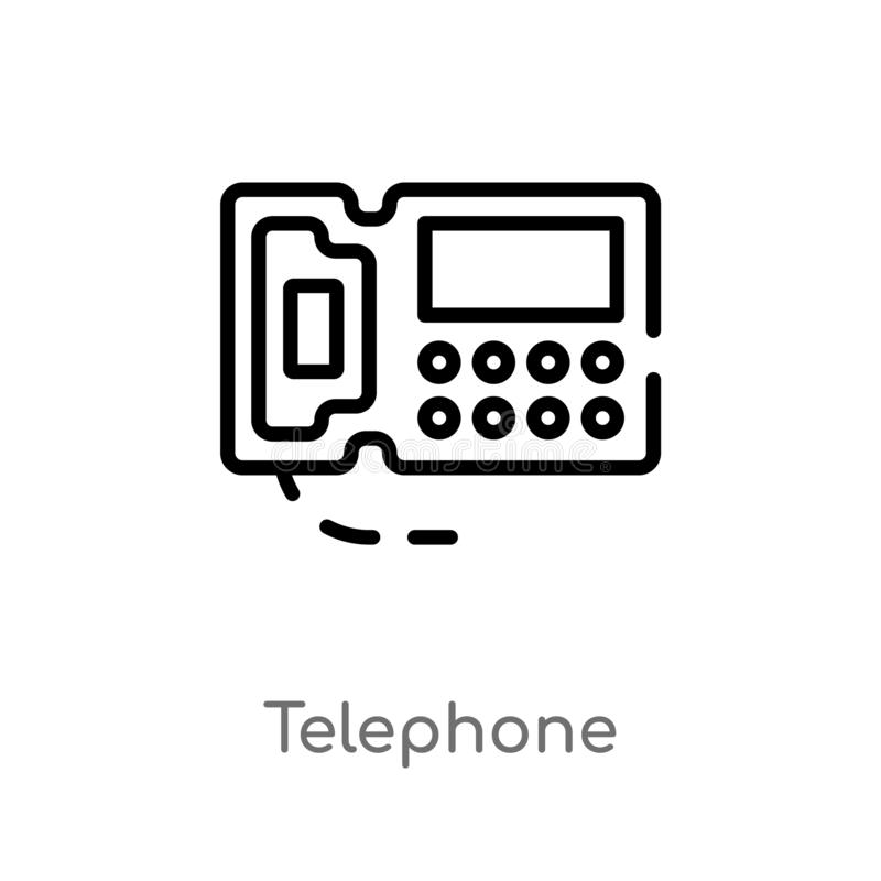 Outline telephone vector icon. isolated black simple line element illustration from customer service concept. editable vector. Stroke telephone icon on white vector illustration
