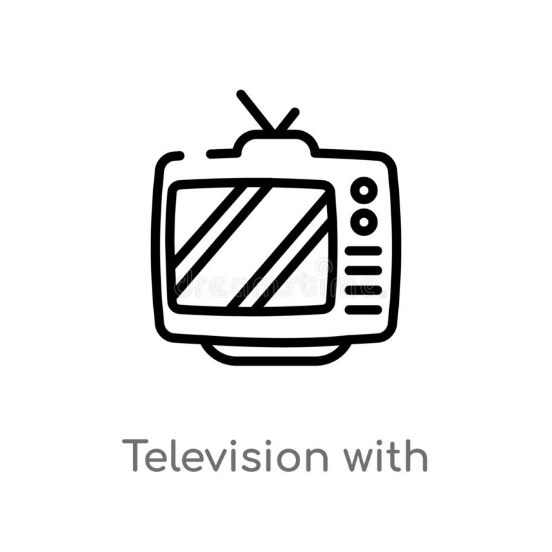 outline television with antenna vector icon. isolated black simple line element illustration from cinema concept. editable vector royalty free illustration