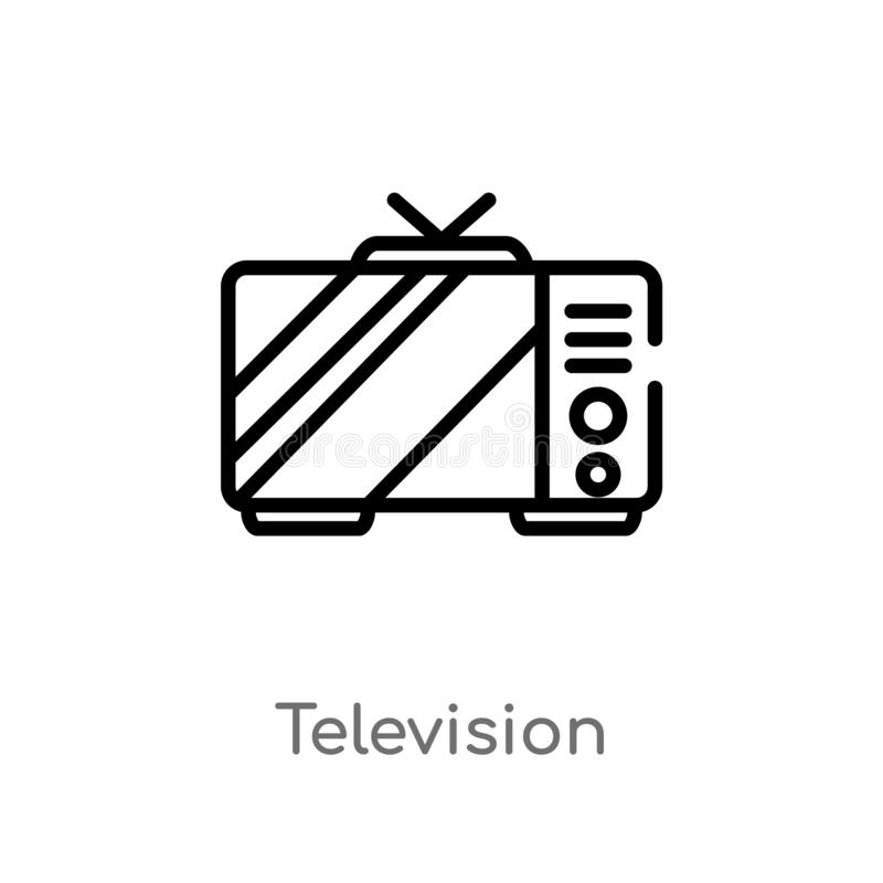 Outline television vector icon. isolated black simple line element illustration from electronic devices concept. editable vector. Stroke television icon on vector illustration