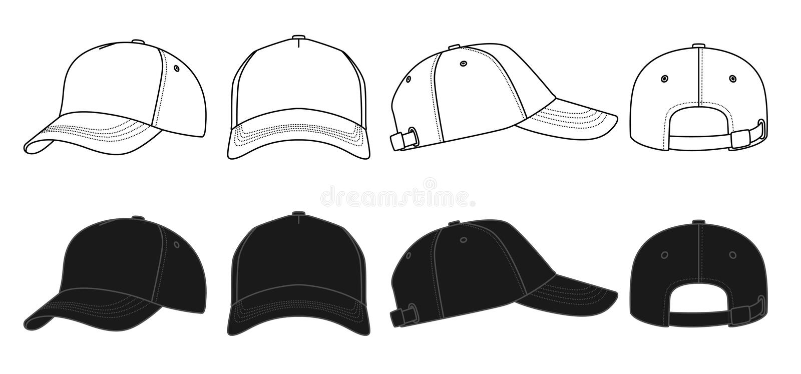 Outline template cap stock vector. Illustration of vector - 78011925
