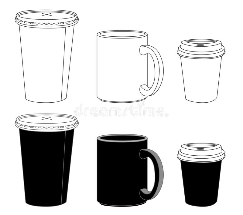 outline template paper glass and mug stock vector