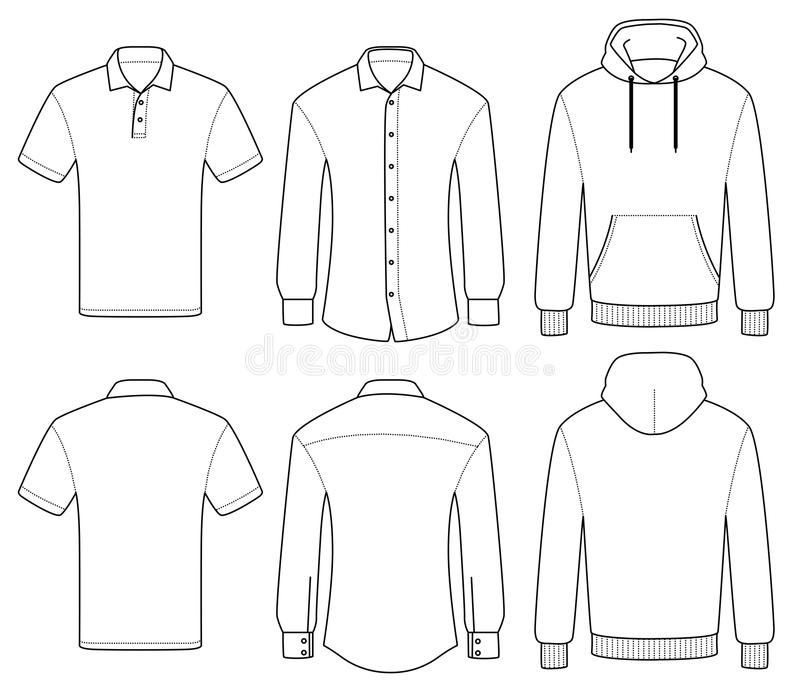 Outline template polo, shirt and hoody stock illustration