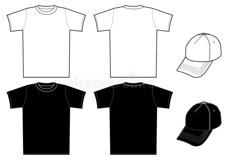 Outline template shirt and cap stock illustration