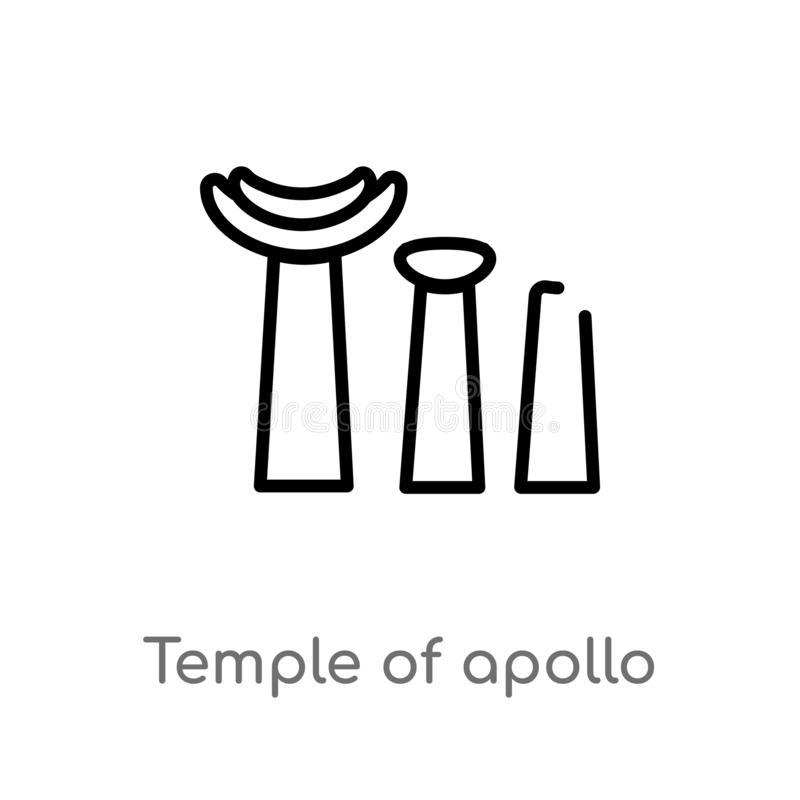 outline temple of apollo vector icon. isolated black simple line element illustration from monuments concept. editable vector vector illustration