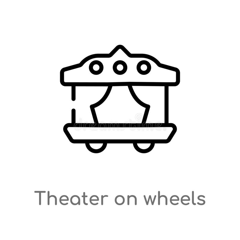 outline theater on wheels vector icon. isolated black simple line element illustration from transport concept. editable vector vector illustration