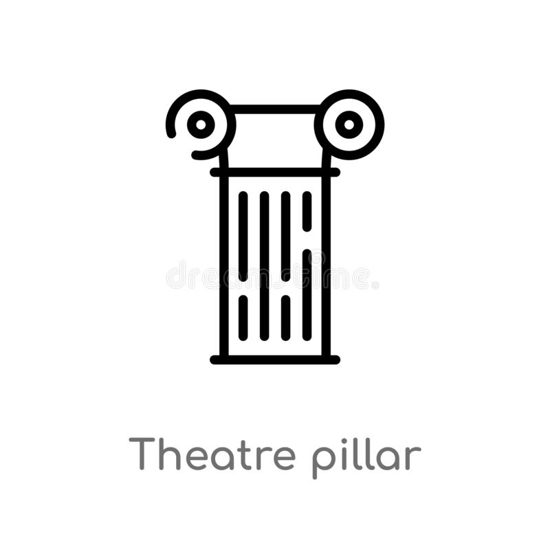 outline theatre pillar vector icon. isolated black simple line element illustration from cinema concept. editable vector stroke vector illustration