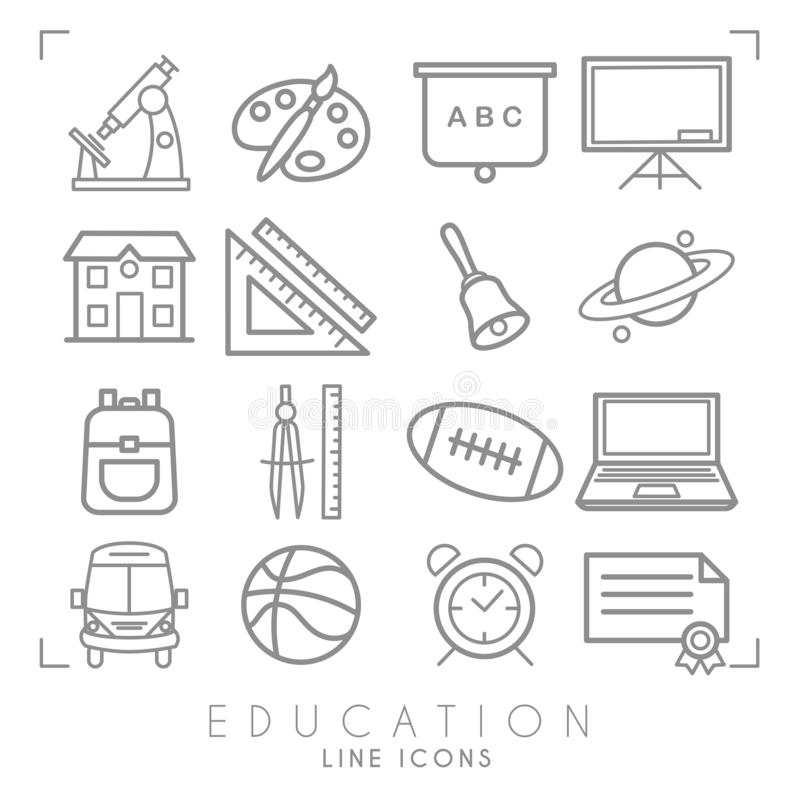 Outline thin black and white icons set. Education collection. Mathematics,  astronomy, sport games, computer and paint equipment, stock illustration