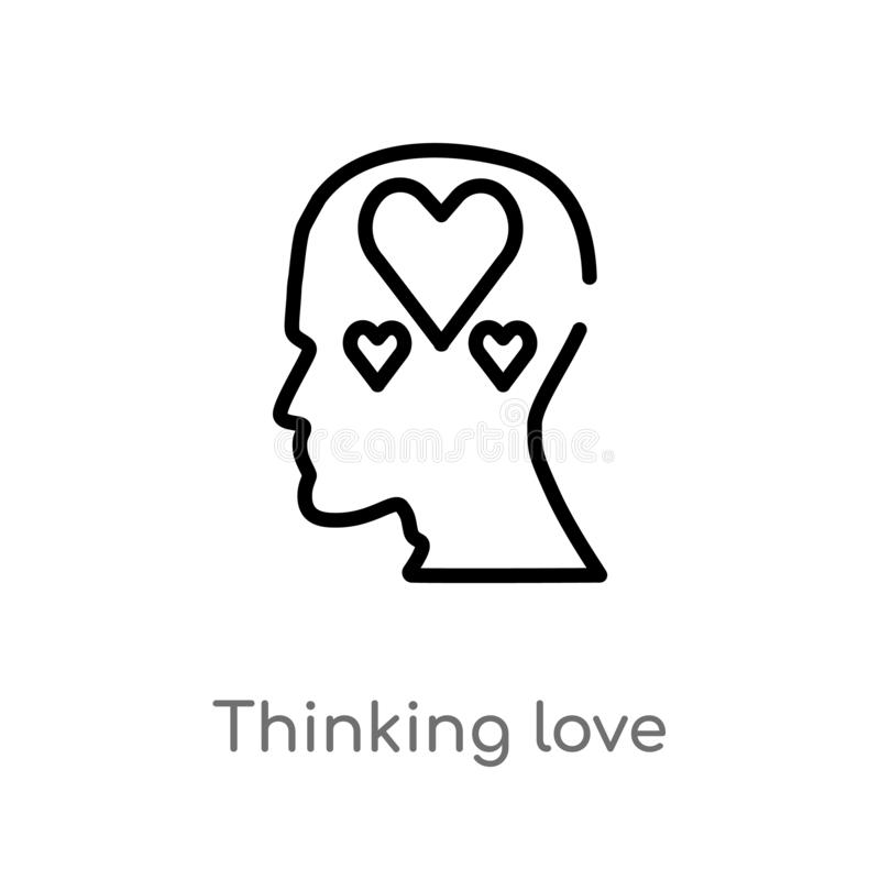 Outline thinking love vector icon. isolated black simple line element illustration from brain process concept. editable vector. Stroke thinking love icon on royalty free illustration