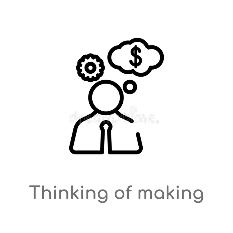 outline thinking of making money vector icon. isolated black simple line element illustration from business concept. editable stock illustration