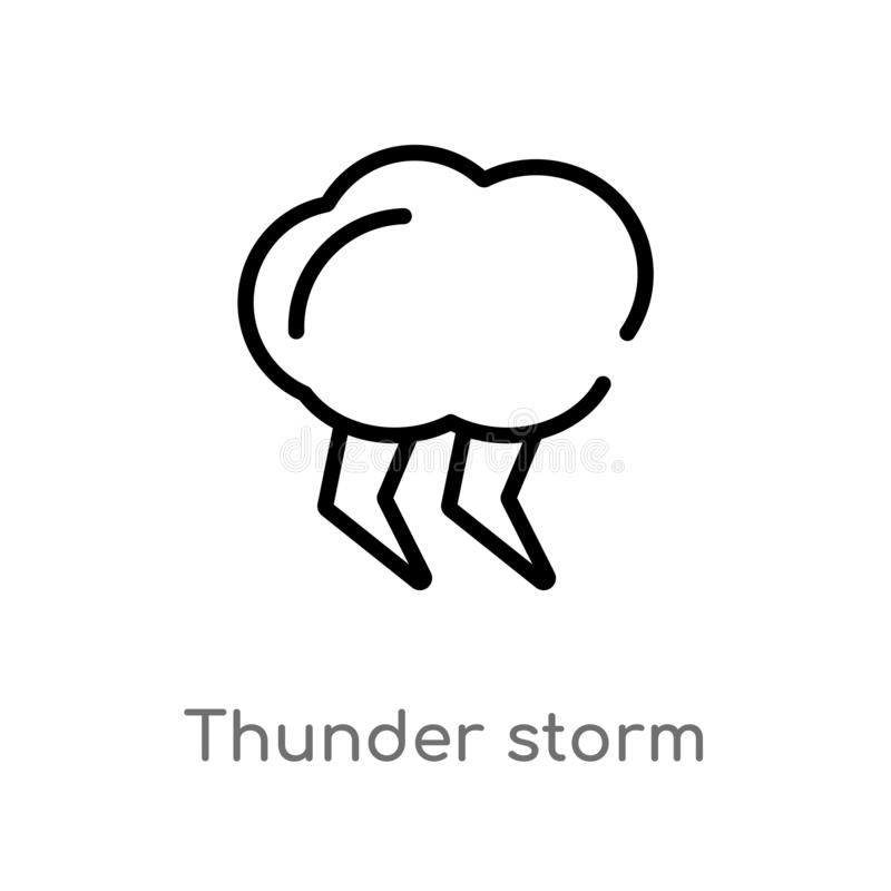 Outline thunder storm vector icon. isolated black simple line element illustration from meteorology concept. editable vector. Stroke thunder storm icon on white stock illustration