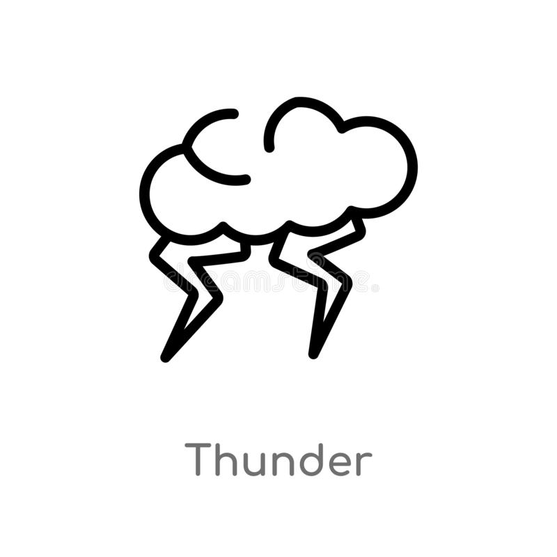 Outline thunder vector icon. isolated black simple line element illustration from meteorology concept. editable vector stroke. Thunder icon on white background vector illustration