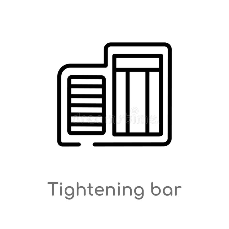 Outline tightening bar vector icon. isolated black simple line element illustration from gym and fitness concept. editable vector. Stroke tightening bar icon on stock illustration