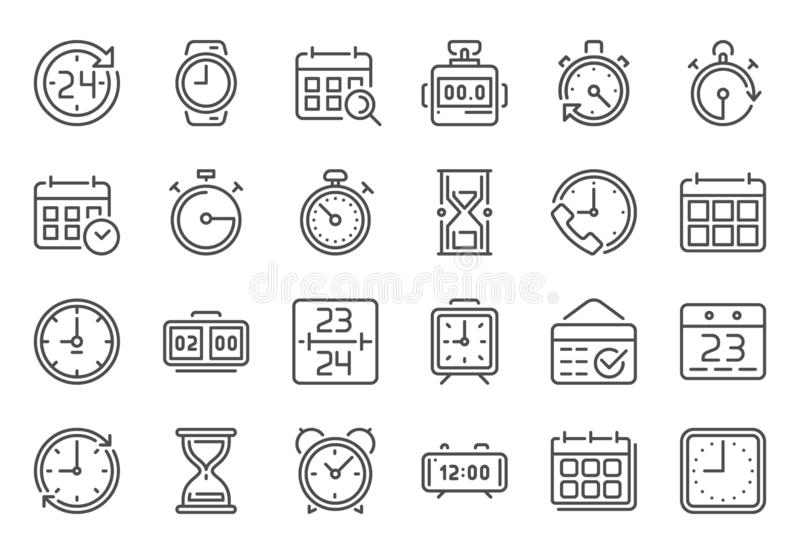 Outline time icon. Timekeeper, stopwatch and timer icons. Alarm clock, calendar and line hourglass sign vector set royalty free illustration