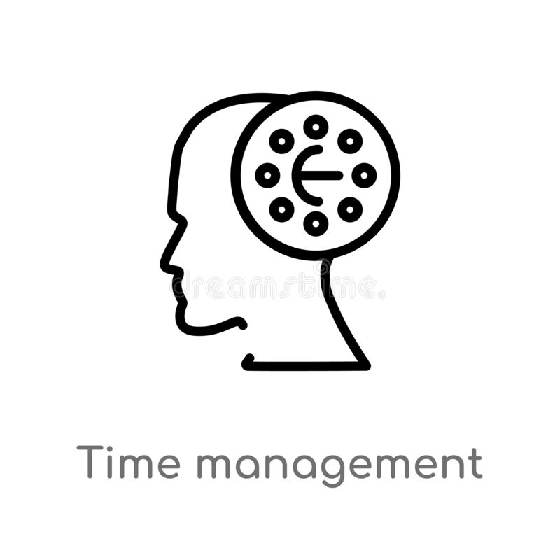 Outline time management vector icon. isolated black simple line element illustration from brain process concept. editable vector. Stroke time management icon on stock illustration