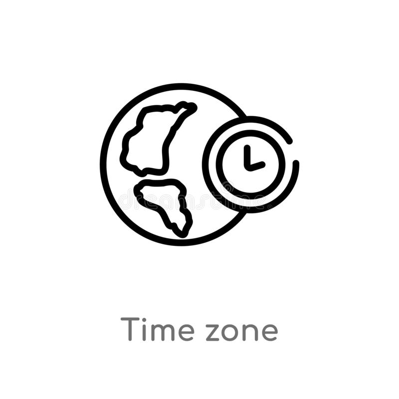 Outline time zone vector icon. isolated black simple line element illustration from travel concept. editable vector stroke time. Zone icon on white background royalty free illustration