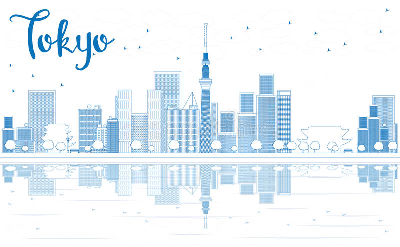 Outline Tokyo skyline with skyscrapers and Reflection. vector illustration