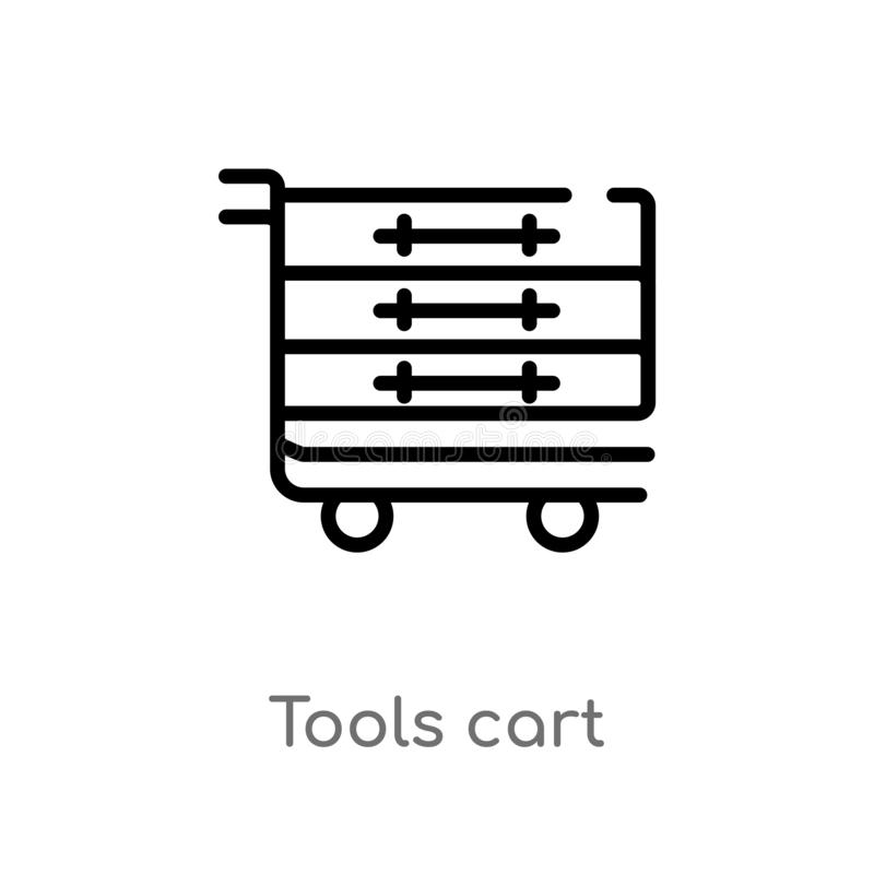 outline tools cart vector icon. isolated black simple line element illustration from commerce concept. editable vector stroke vector illustration