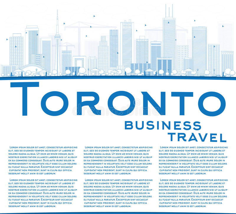 Outline Toronto skyline with blue buildings and copy space. Vector illustration. Business travel and tourism concept with place for text. Image for stock illustration