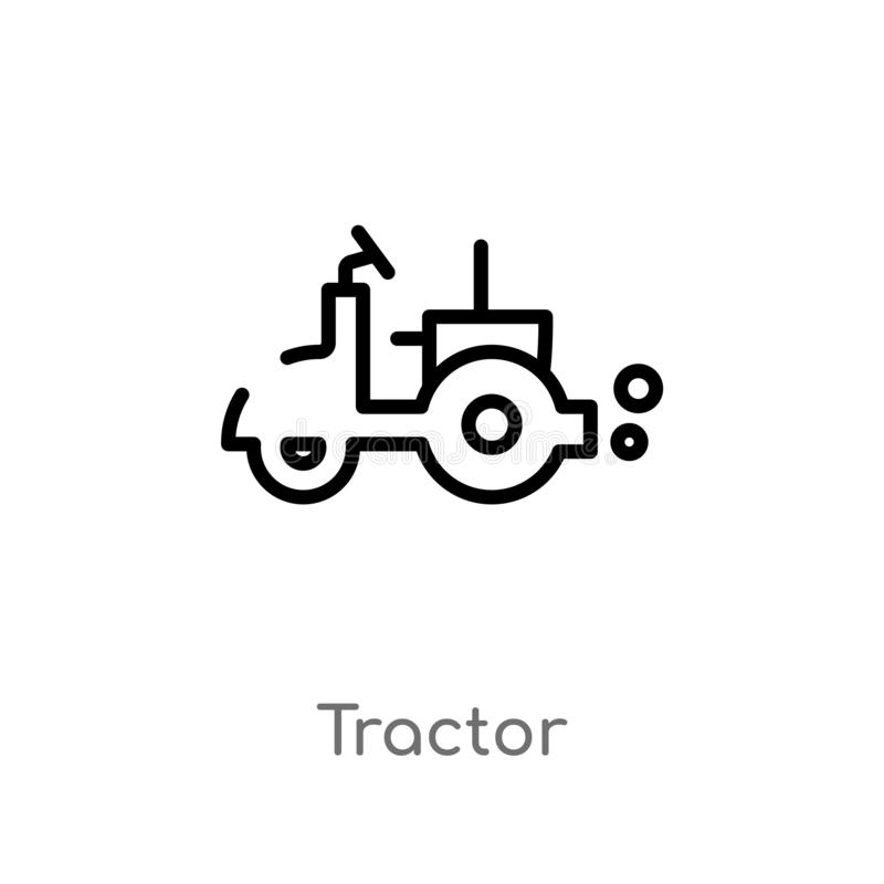 Outline tractor vector icon. isolated black simple line element illustration from farming concept. editable vector stroke tractor. Icon on white background royalty free illustration