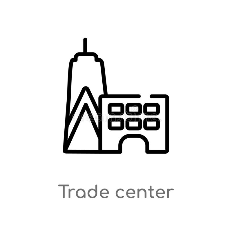 outline trade center vector icon. isolated black simple line element illustration from buildings concept. editable vector stroke royalty free illustration
