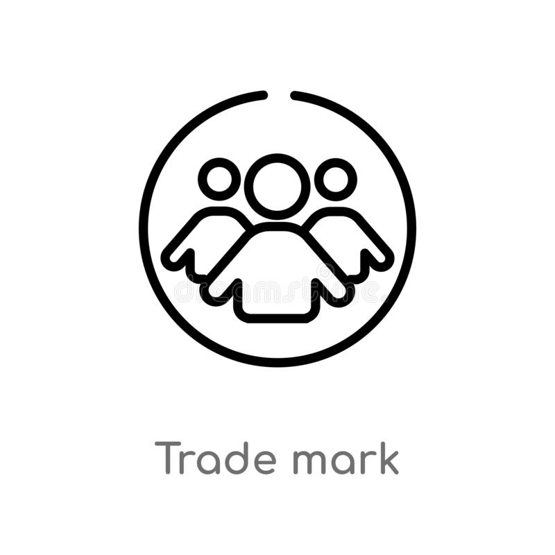 outline trade mark vector icon. isolated black simple line element illustration from people concept. editable vector stroke trade vector illustration