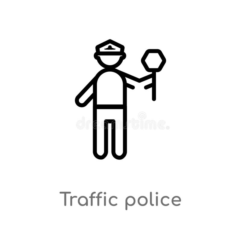 outline traffic police vector icon. isolated black simple line element illustration from people concept. editable vector stroke royalty free illustration