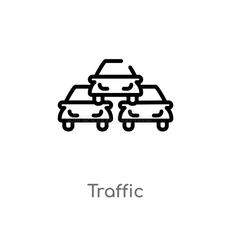 outline traffic vector icon. isolated black simple line element illustration from signs concept. editable vector stroke traffic stock illustration
