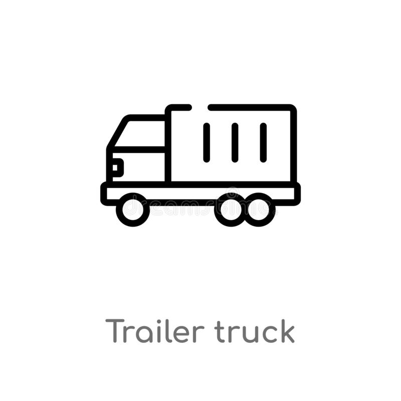 Outline trailer truck vector icon. isolated black simple line element illustration from airport terminal concept. editable vector. Stroke trailer truck icon on royalty free illustration