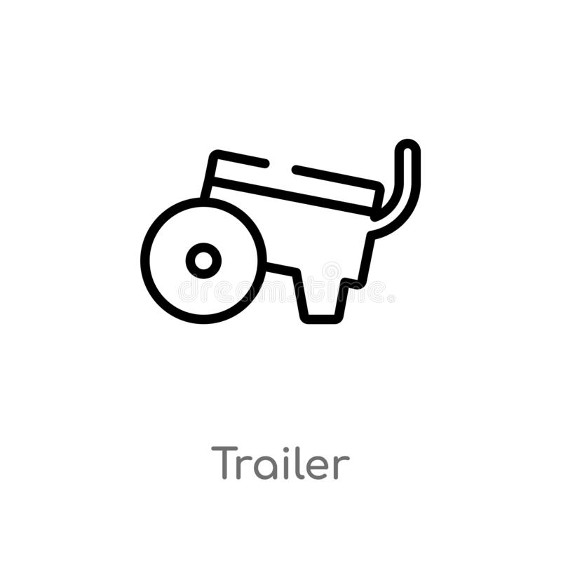 Outline trailer vector icon. isolated black simple line element illustration from farming and gardening concept. editable vector. Stroke trailer icon on white stock illustration