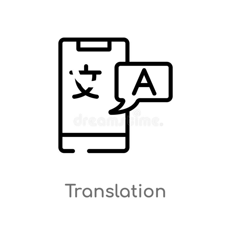 outline translation vector icon. isolated black simple line element illustration from artificial intelligence concept. editable stock illustration