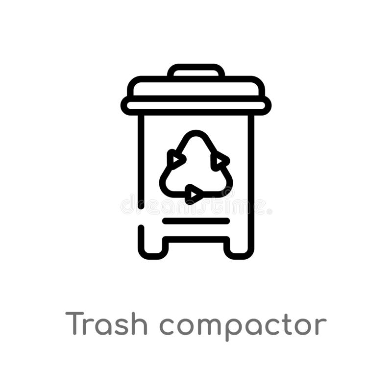 Outline trash compactor vector icon. isolated black simple line element illustration from electronic devices concept. editable. Vector stroke trash compactor vector illustration