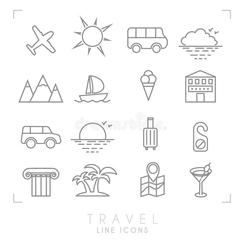 Outline travel line icons vector illustration