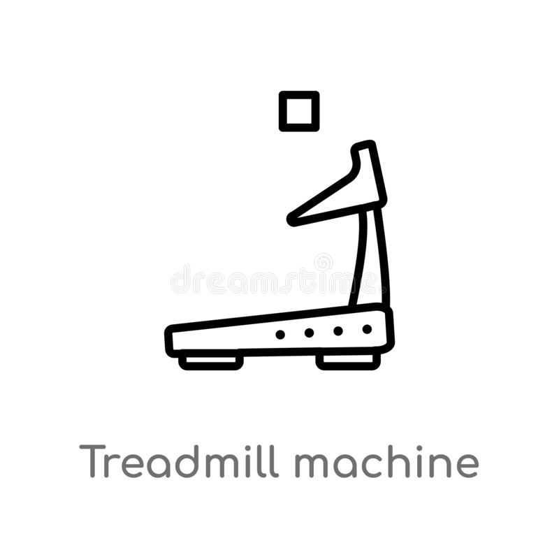 outline treadmill machine vector icon. isolated black simple line element illustration from gym and fitness concept. editable stock illustration