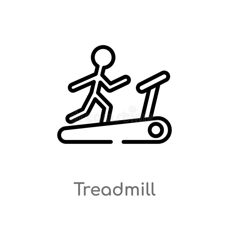outline treadmill vector icon. isolated black simple line element illustration from health concept. editable vector stroke vector illustration