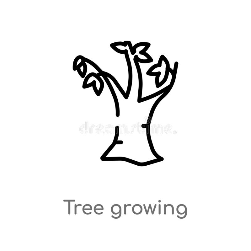 outline tree growing vector icon. isolated black simple line element illustration from nature concept. editable vector stroke tree stock illustration