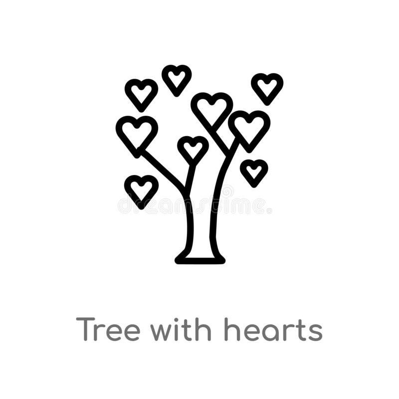 outline tree with hearts vector icon. isolated black simple line element illustration from ecology concept. editable vector stroke vector illustration